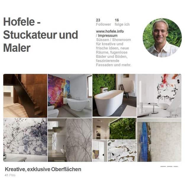 Screenshot Pinterest Hofele Stuckateur und Maler-Betrieb Süssen, Kreis Göppingen
