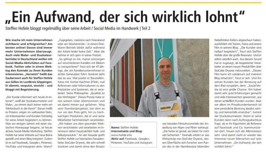 Screenshot Artikel StoProfi Info 2-2017 Seite 6 - Hofele Stuckateur und Maler-Betrieb Süssen, Kreis Göppingen