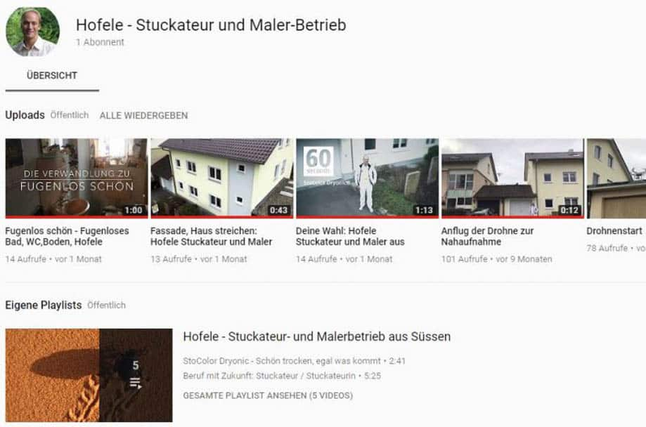 Screenshot Youtube Hofele Stuckateur und Maler-Betrieb Süssen, Kreis Göppingen
