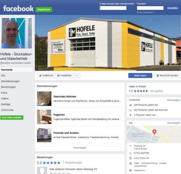 Screenshot Facebook Hofele Stuckateur und Maler-Betrieb Süssen, Kreis Göppingen