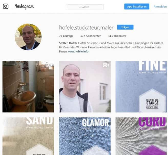 Screenshot Instagram Hofele Stuckateur und Maler-Betrieb Süssen, Kreis Göppingen