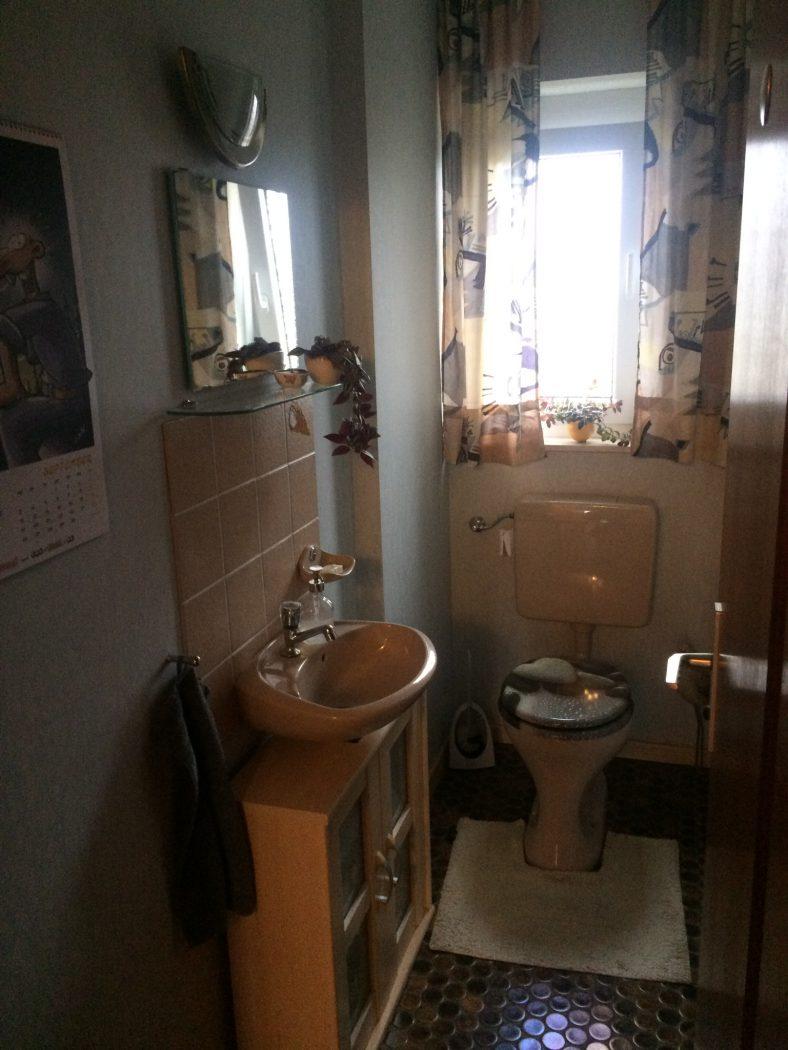 fugenlose Toilette vor Renovierung - Hofele Stuckateur und Maler Süssen, Kreis Göppingen